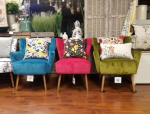 Colourful chairs for sale at Just Delights Penryn