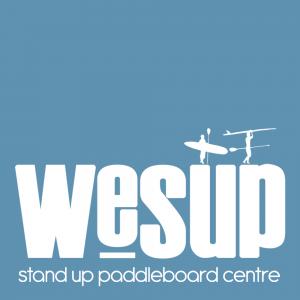 WeSUP Logo Paddle Boarding at Gylly Beach Falmouth