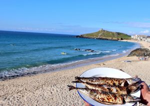 Cooked Fish at Woodfired West on Porthmeor Beach